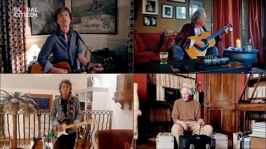 """Rolling Stones durante participação no festival virtual """"One World: Together At Home"""""""