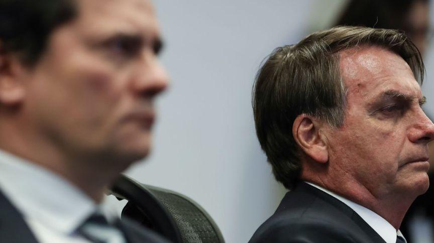 O presidente Jair Bolsonaro e o ex-ministro da Justiça Sergio Moro