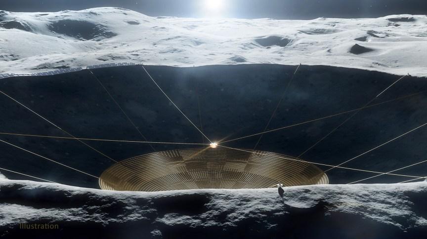 Ilustração do conceito de um radiotelescópio dentro de uma cratera na lua