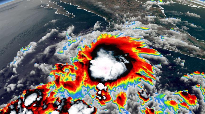 Imagem de satélite da tempestade tropical Andres