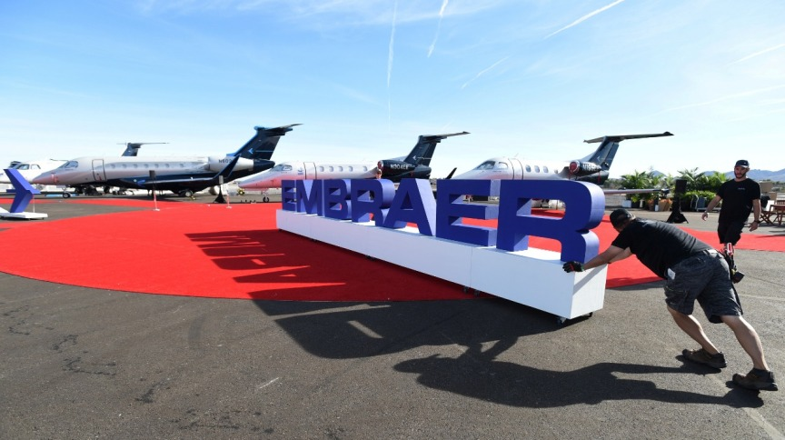 Letreiro da Embraer em Las Vegas, Nevada (21out.2019)