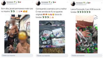 Relatório coleta publicações de suspeitos com armas e relatos da rotina do tráfico de drogas na comunidade do Rio de Janeiro