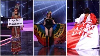 Participantes de Mianmar, Uruguai e Cingapura usaram segmento de 'roupas típicas' da competição para exibir mensagens sobre questões políticas e sociais