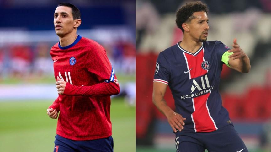 Os jogadores do Paris Saint-Germain, Ángel Di María e Marquinhos