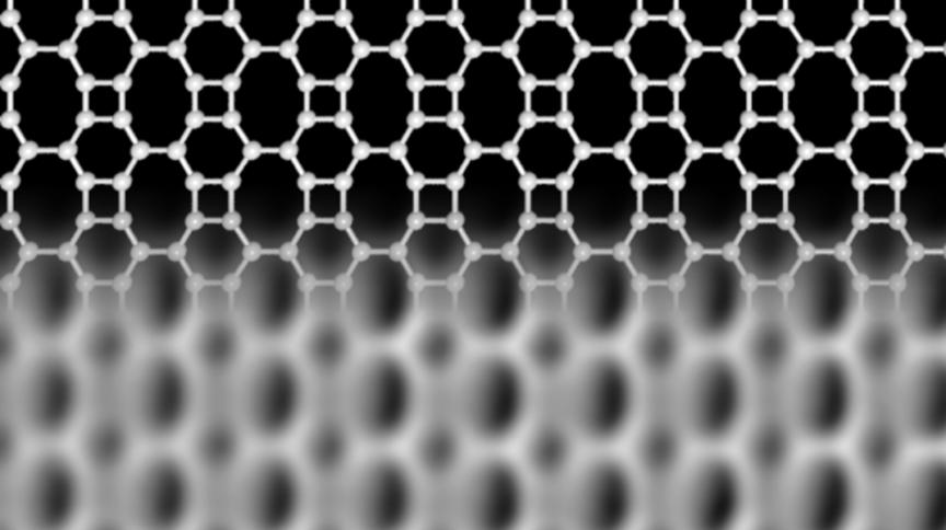 Estrutura do novo material à base de carbono descoberto, o bifenileno