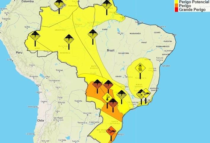 Inmet alerta para temporais no Brasil