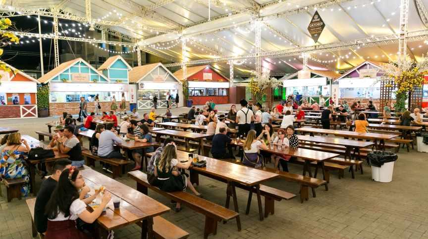 Oktoberfest em Blumenau, interior do estado de Santa Catarina, em 10 de outubro de 2019.