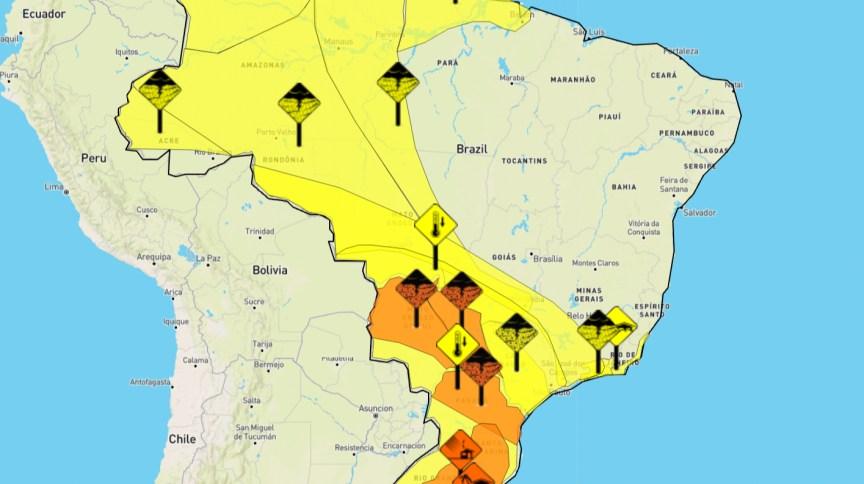 Inmet alerta para rajadas de vento nas regiões Sul e Sudeste