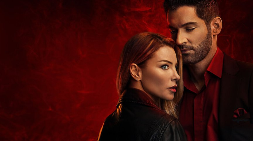 Pôster da série Lucifer, com os atores Tom Ellis e Lauren German