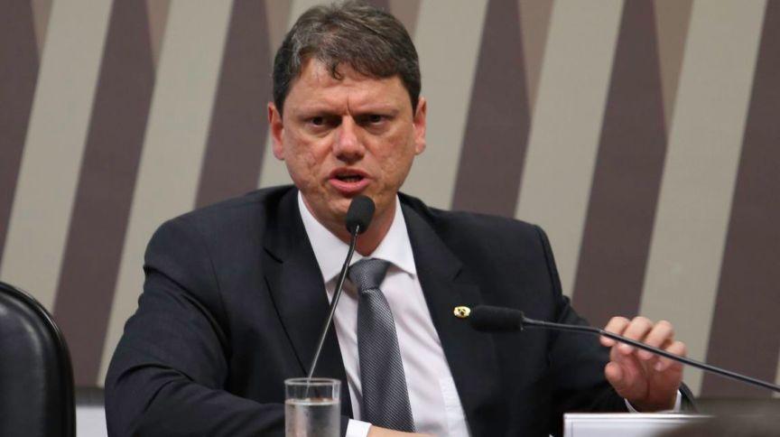 O ministro da Infraestrutura, Tarcísio Freitas, em encontro organizado pela Embaixada da Itália, em Brasília (14.mar.2019)
