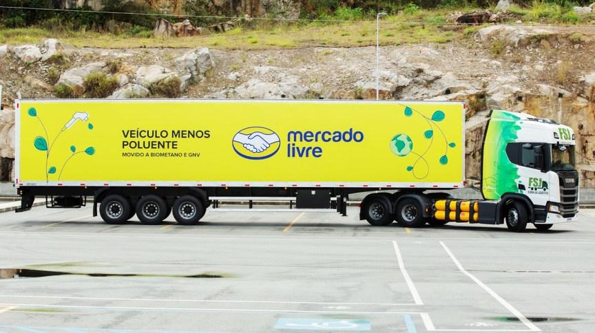 Caminhão sustentável do Mercado Livre