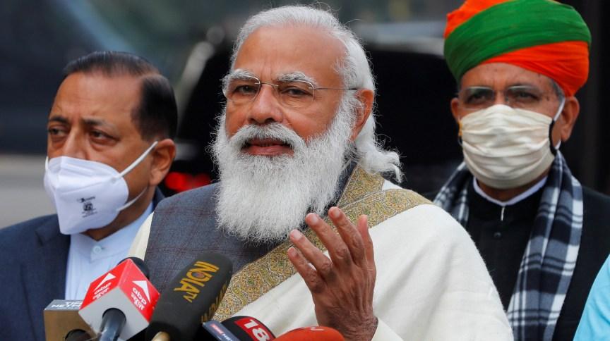 Primeiro-ministro da Índia, Narendra Modi, no Parlamento em Nova Delhi