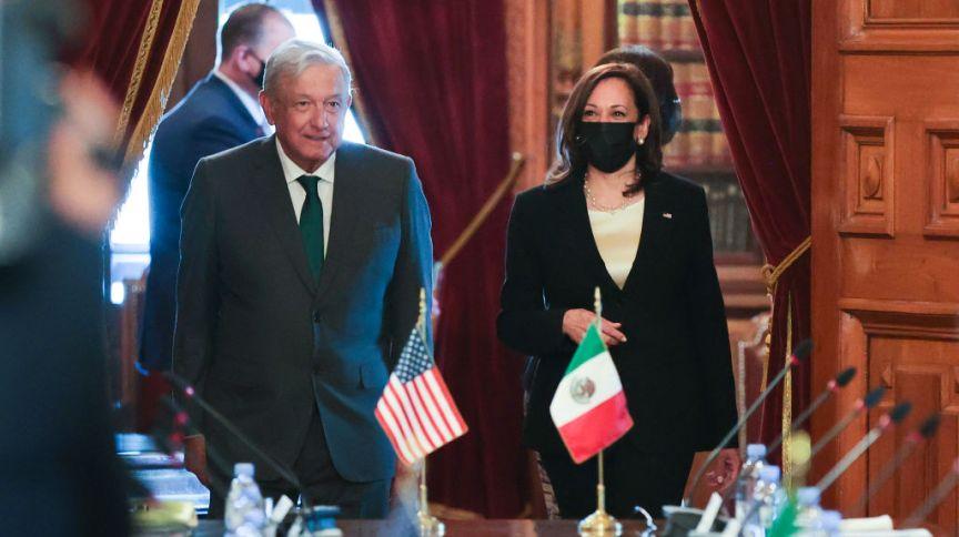 Vice-presidente dos EUA, Kamala Harris, se reúne com o presidente do México, Andrés Manuel López Obrador