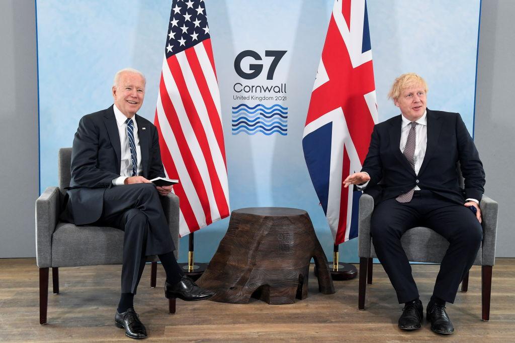 Presidente dos EUA, Joe Biden, e primeiro-ministro da Inglaterra, Boris Johnson