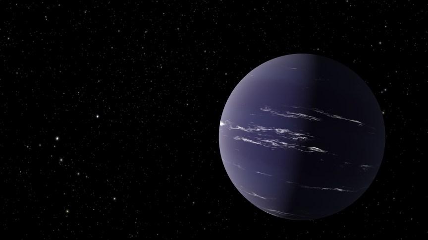 A ilustração deste artista mostra TOI-1231 b, um planeta semelhante a Netuno