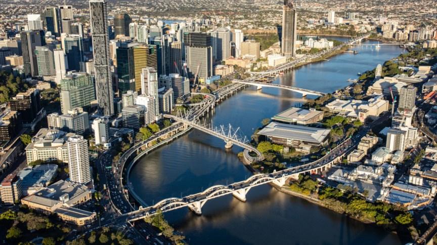 Imagem aérea de Brisbane, na Austrália