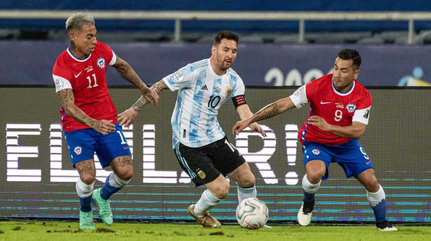 Messi,durante a partida entre Argentina e Chile, válida pela 1º rodada da fase de grupos da Copa America 2021
