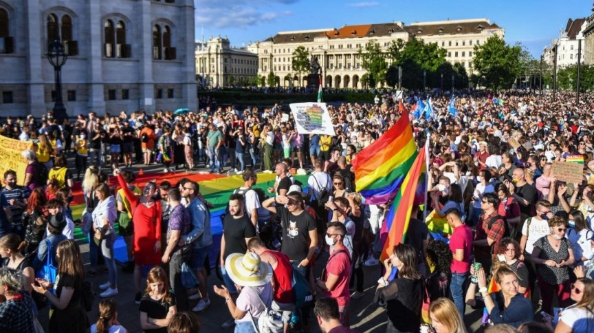 Manifestantes em Budapeste