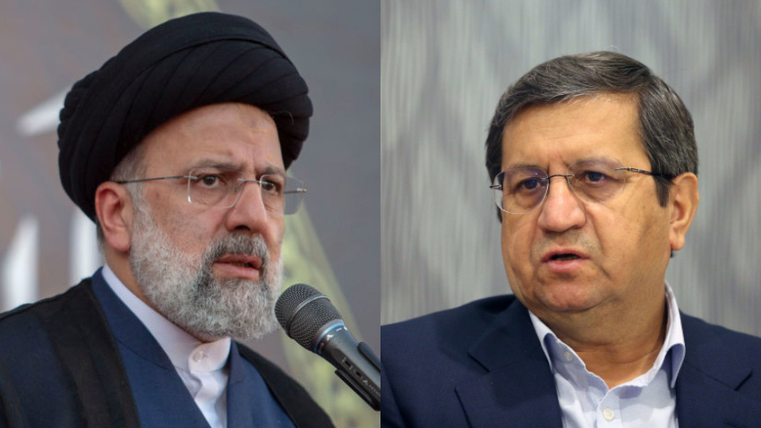 À esquerda, Ebrahim Raisi; à direita, Abdolnaser Hemmati