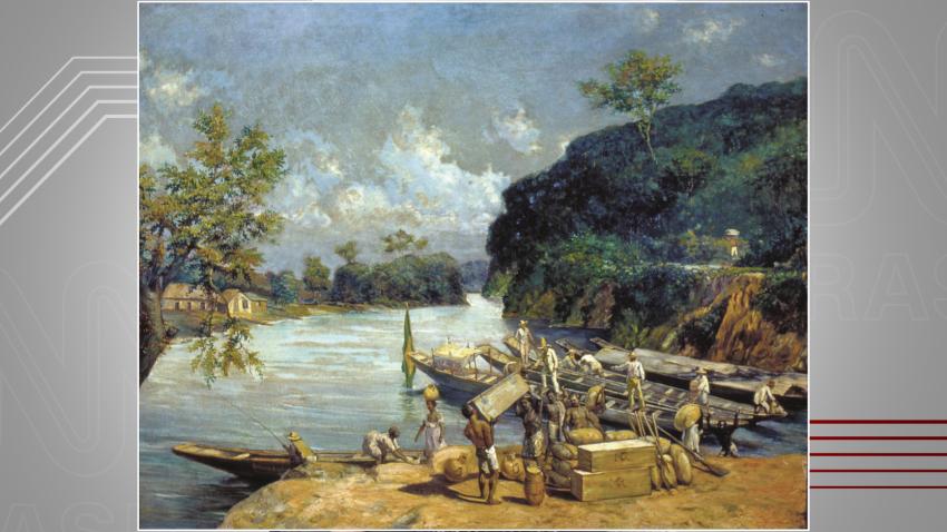 Carga das canoas, de Oscar Pereira da Silva - uma das obras usadas para ilustrar o segundo volume de 'Escravidão'