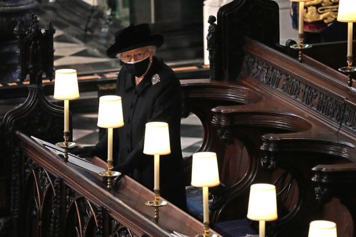 Rainha Elizabeth II no funeral do Príncipe Philip