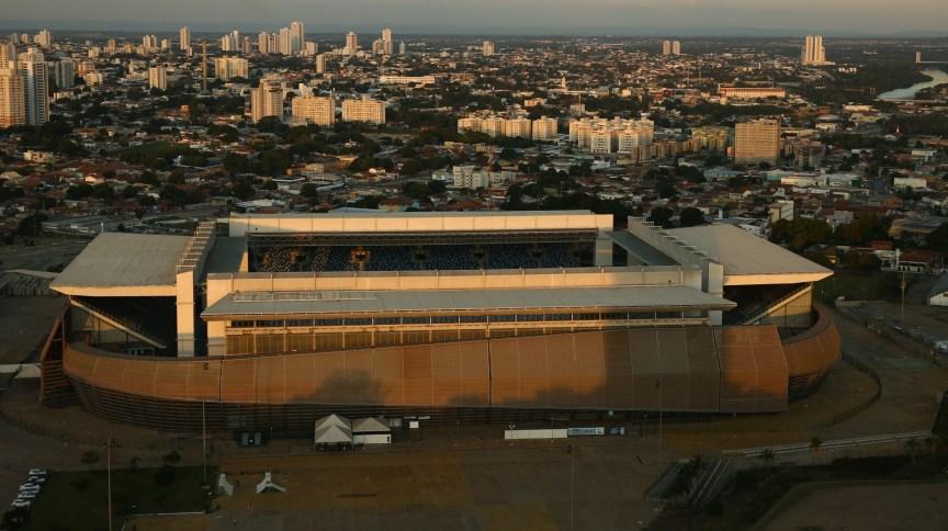 Vista aérea da Arena Pantanal, em Cuiabá, um dos estádios da Copa América