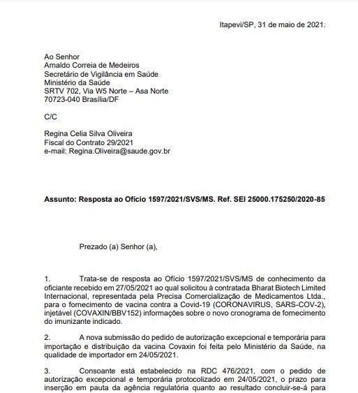 Ofício nº 11/2021/PRECISA/CONTRATO 29-2021