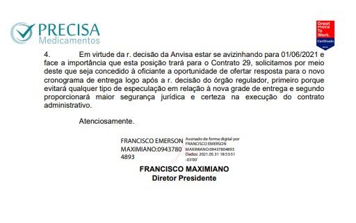 Ofício assinado por Maximiano