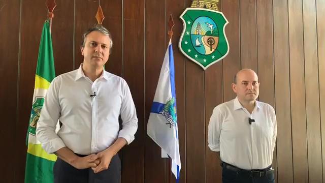 O governador do Ceará, Camilo Santana, e o prefeito de Fortaleza, Roberto Cláudio, anunciam novas medidas de combate ao novo coronavírus (Covid-19)
