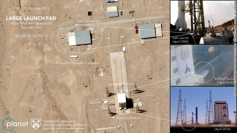 Em 19 e 20 de junho, o Planet capturou duas imagens que mostram o Irã se preparando novamente para o lançamento do Simorgh, de acordo com especialistas do Instituto de Assuntos Internacionais de Middlebury em Monterey.