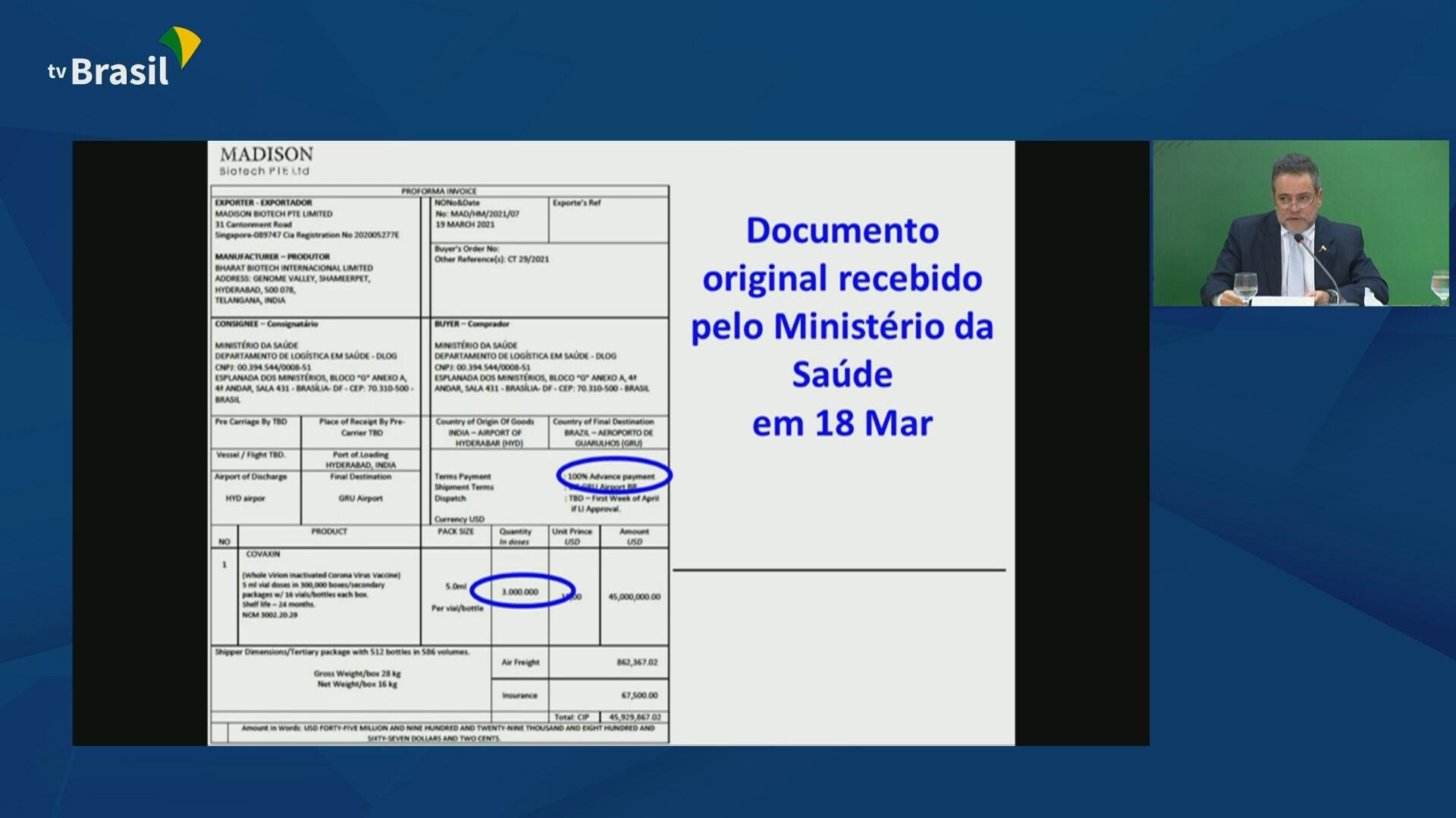 Documentos apresentados pelo governo federal para rebater denúncias de irregular