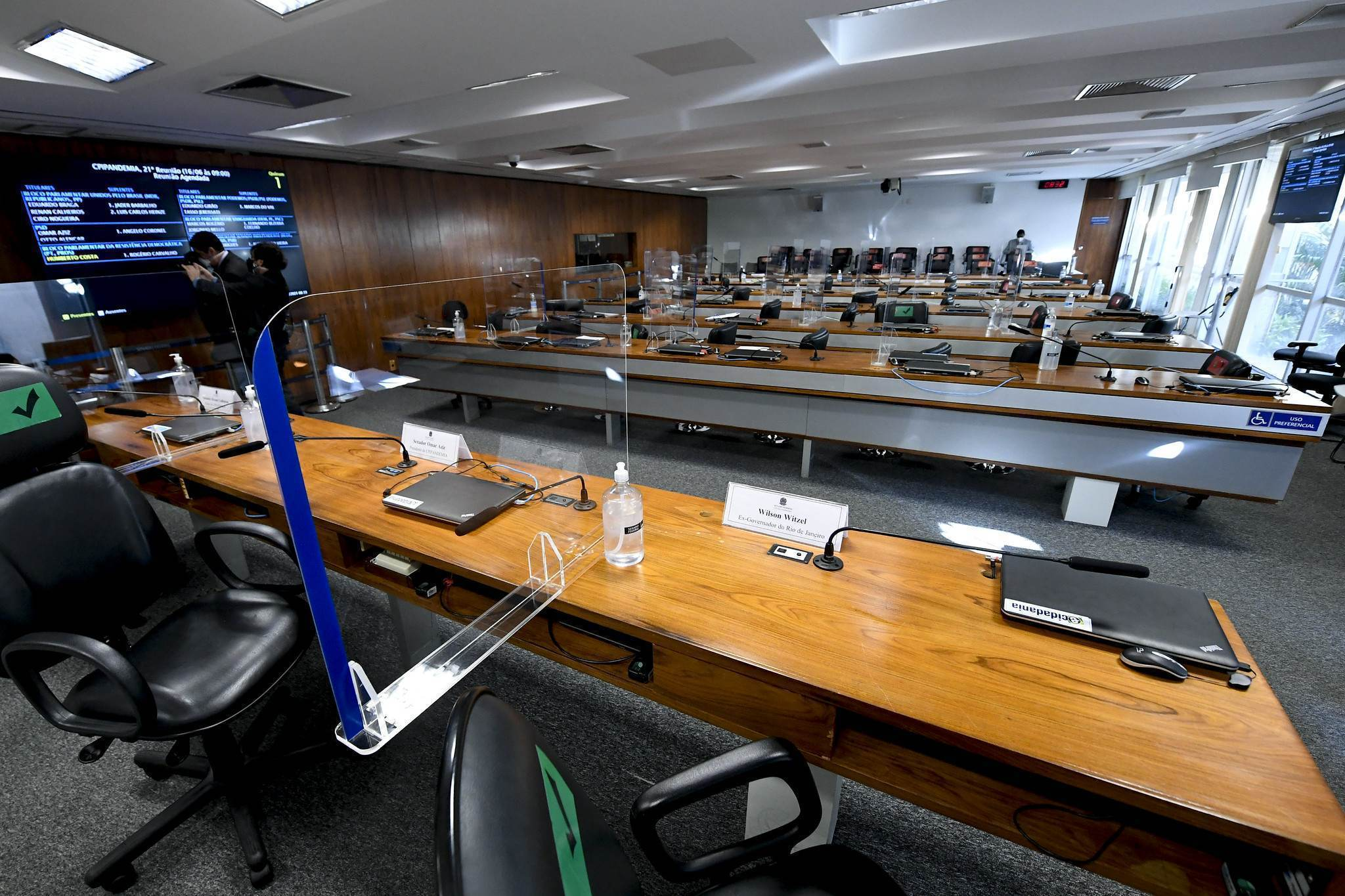 Sala onde ocorrem depoimentos da CPI da Pandemia no Senado