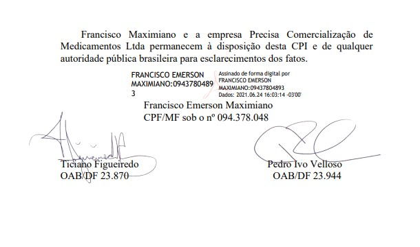 Carta de Francisco Maximiano