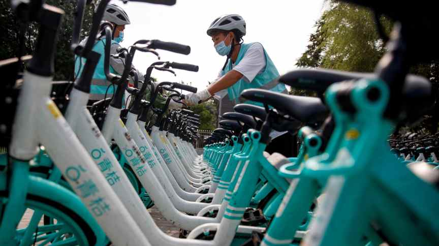 Bicicletas do serviço de transporte por aplicativo da chinesa DiDi