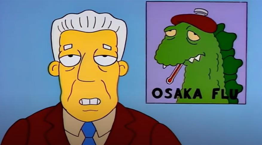 Cena de episódio de 'Os Simpsons' de 1993 em que a série mostra uma pandemia iniciada na Ásia