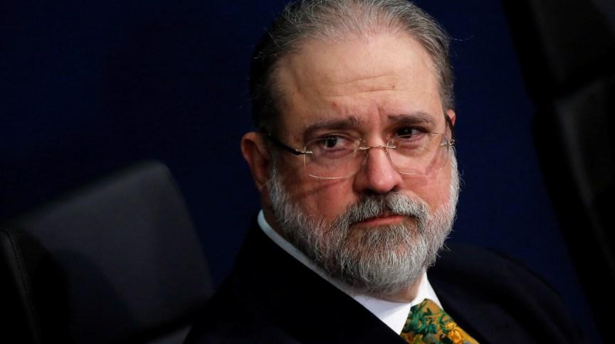 Procurador-geral da República, Augusto Aras, durante cerimônia de posse: ele pediu a suspensão do inquérito das fake news