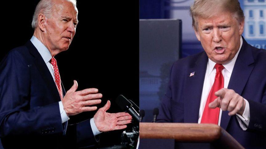 O ex-vice-presidente da gestão Obama e atual candidato democrata Joe Biden e o presidente dos Estados Unidos, Donald Trump