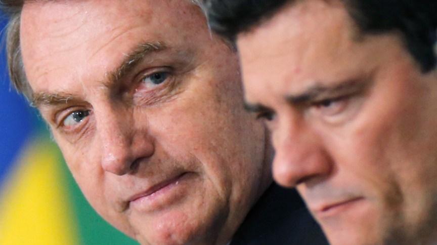 O presidente Jair Bolsonaro e o ex-ministro da Justiça, Sergio Moro