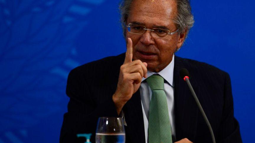 O ministro da Economia Paulo Guedes durante a coletiva de 500 dias do governo
