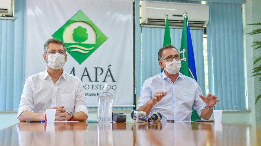 O prefeito de Macapá, Clécio Luís (Rede), e o governador do Amapá, Waldez Góes (PDT), anunciam novas medidas de combate ao novo coronavírus