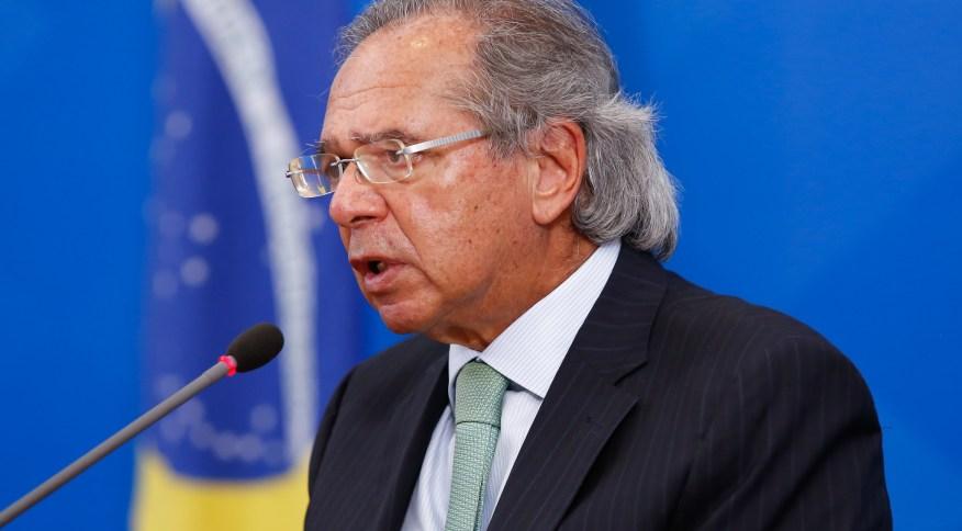 Ministro da Economia, Paulo Guedes, durante coletiva de imprensa em Brasília.