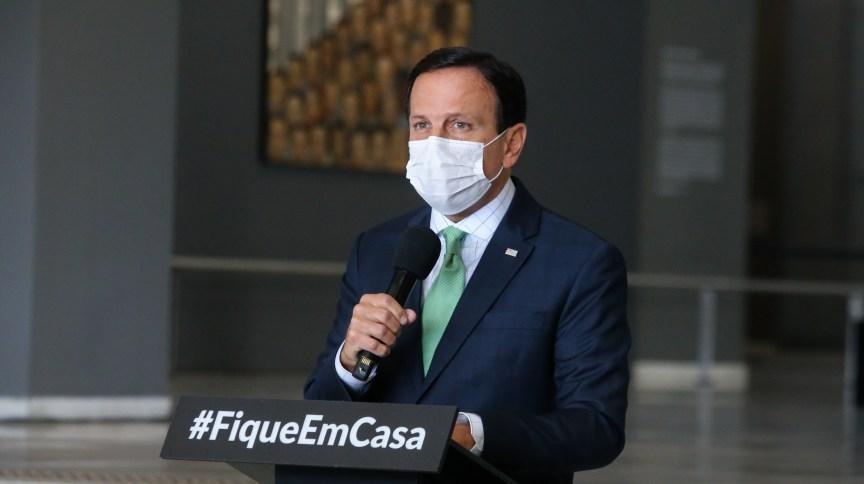 Governador de São Paulo, João Doria (PSDB), durante coletiva de imprensa sobre coronavírus