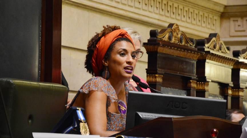 Vereadora Marielle Franco na Câmara Municipal do Rio de Janeiro.