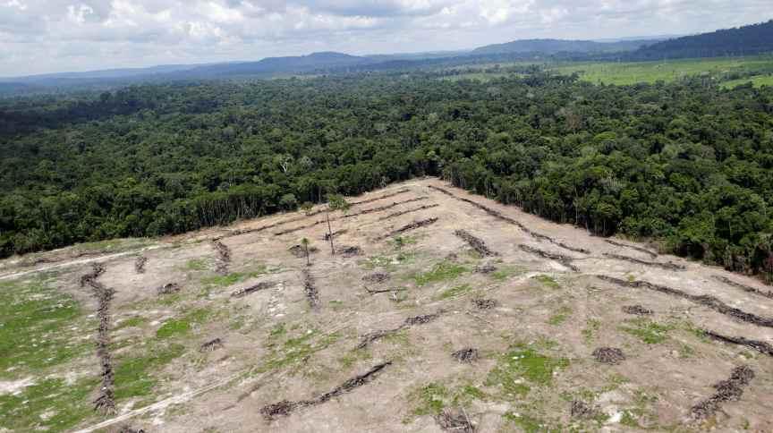 Área desmatada na região amazônica do estado do Pará