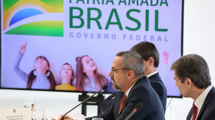 Ministro da Educação, Abraham Weintraub, na reunião ministerial em 22 de abril, no Palácio do Planalto.