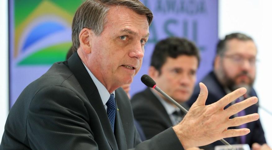 Presidente da República, Jair Bolsonaro (sem partido), na reunião ministerial em 22 de abril, no Palácio do Planalto.