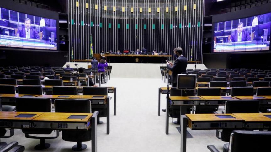 Plenário da Câmara dos Deputados durante sessão deliberativa virtual