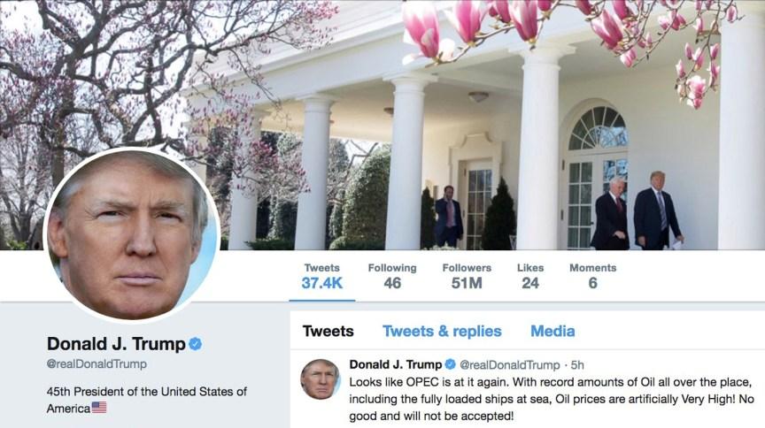 Página do Twitter mostra conta do presidente dos EUA, Donald Trump