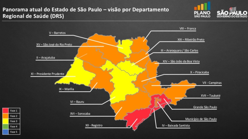 Mapa do governo do estado de São Paulo divide em regiões para reabertura da quarentena