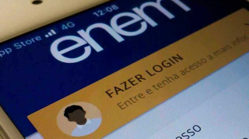 Tela de entrada do aplicativo do Exame Nacional do Ensino Médio, o Enem